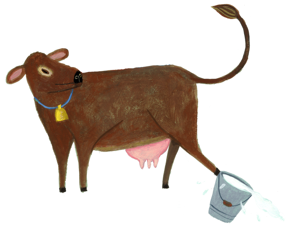 cow kicking bucket